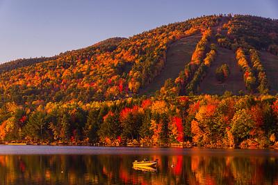 Shawnee Peak in Autumn, looking across Moose Pond, Bridgton, ME