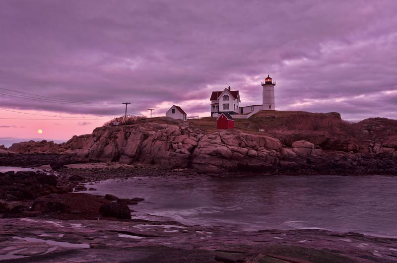 Moonrise at Nubble Light, York, Maine.