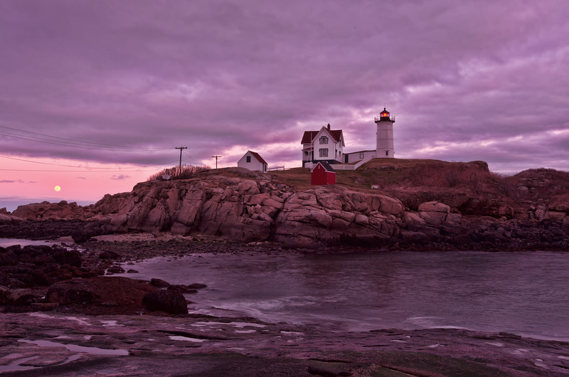 Moonrise at Nubble Light, York, Maine.