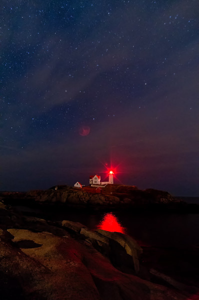 Stars over Nubble Light, York, Maine.