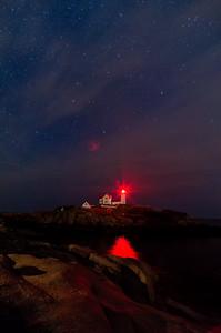 Stars over Nubble Light, York, Maine.