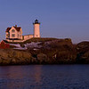 Moonrise over Nubble Light, a 20 image panorama, York, Maine.