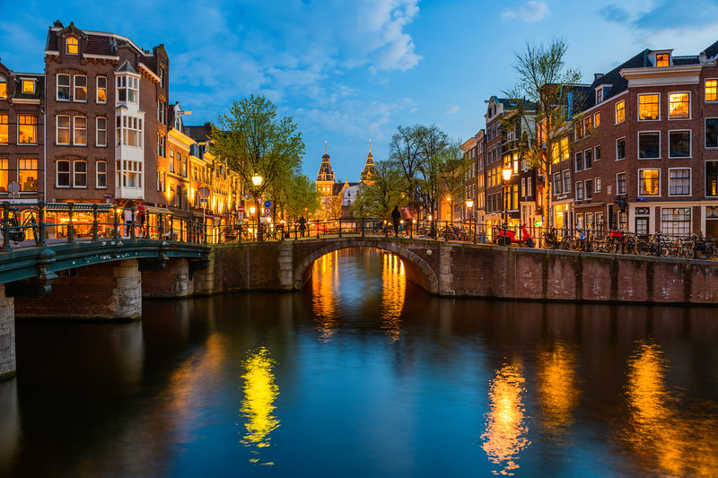 """""""Canals and Rijksmuseum at Dusk"""" Amsterdam, Netherlands"""