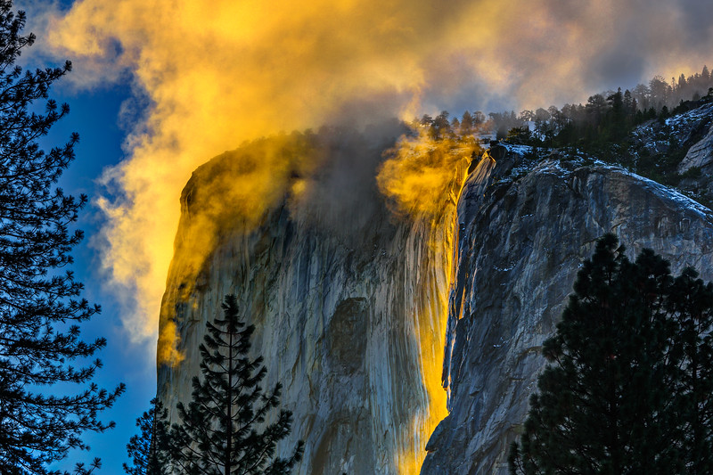 """Horsetail Falls and El Capitan on Fire at Sunset in Yosemite National Park"""