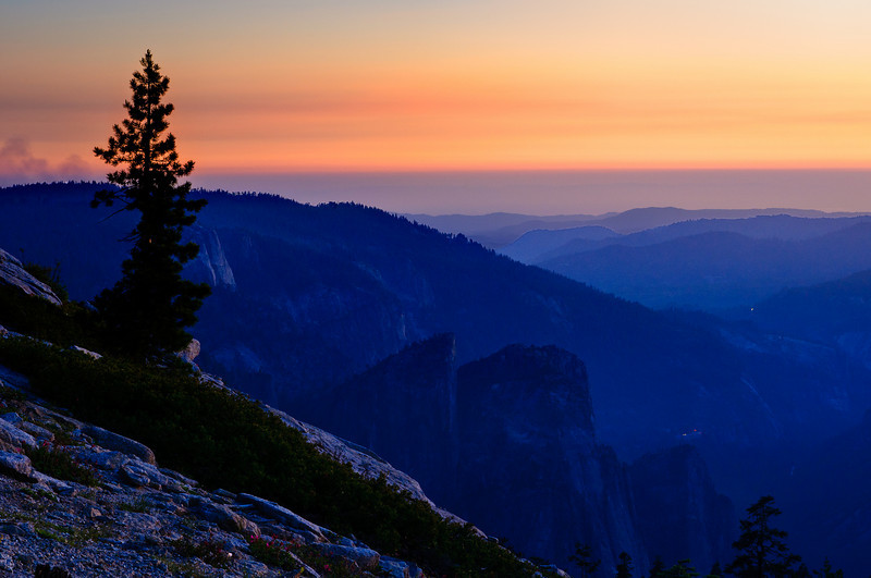 """Sunset from Sentinel Dome""  Just a nice glow of the sunset in Yosemite National Park"