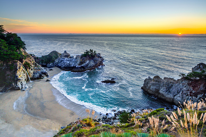 """""""McWay Falls at Sunset"""" I managed to get down to McWay Falls at Sunset after shooting around Big Sur. This is a another great place to visit along the Northern California coastline - I often find folks make it to Big Sur but don't drive the extra 30 minutes to visit this awesome falls!!! This is an updated version of this image that I worked on for a client. Captured with the Nikon D3S and Nikon 14-24mm courtesy of BorrowLenses.com   Copyright John Harrison Photography — at McWay Falls, Big Sur, California Coastline.   Fine Art Photography for Collectors, Healthcare and Corporations. Perfect for Executive Briefing Centers. This image looks amazing on Metal, HD Acrylic Flex or a Gicleé Gallery-wrap canvas up to 40"""" x 60"""" or larger! With John's style of images, you don't know if this is a painting or a photograph - some have compared him to a Thomas Kinkade"""" of Nature and Landscape Photography."""