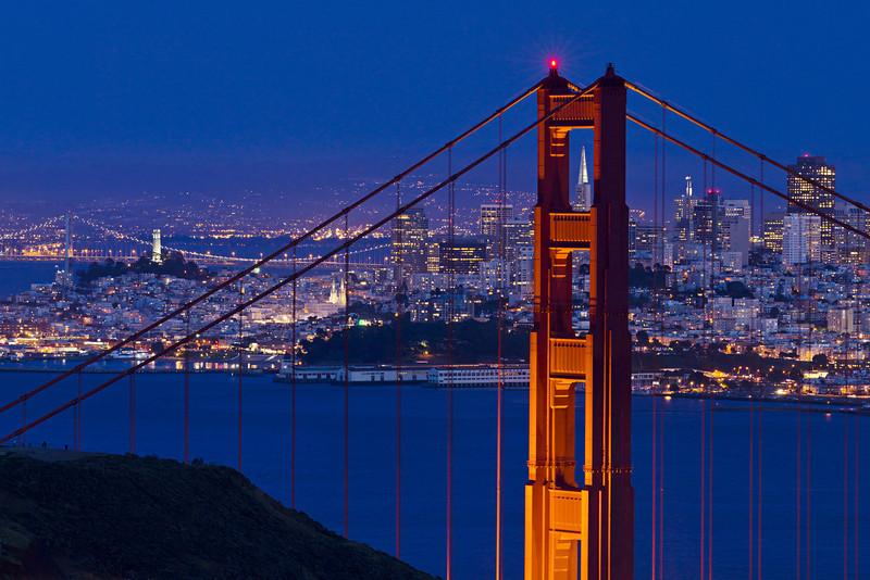 """San Francisco at Night Through the Golden Gate Bridge"""