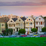 7 Painted Ladies at Sunset with a view of Downtown San Francisco.  Located in Alamo Square, the Victorian houses on Steiner Street.  This is one of San Francisco's most photographed landmarks, yet I still run into people everyday who have never been here!  This is a 1:2 ratio multiple shot high resolution panorama and can easily be printed gigantic!