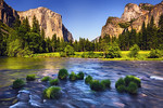"""Gates of the Valley in Summer"" The majestic El Capitan and Bridalveil Falls with the lush green green in the Merced river makes this one of my favorite spots in Yosemite! It is the last stop on the way out of the park and one I never get tired of. Anyone headed to Yosemite this summer?! — at Yosemite National Park."