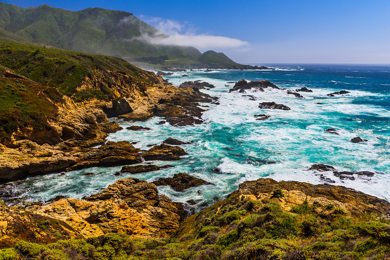 """Hills Along the Northern California Tranquil Coastline near Garrapata State Park and Big Sur"""