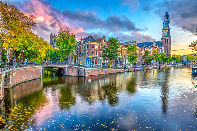 """Amsterdam Sunset and Fall Colours"" Amsterdam, Netherlands, Nederlands Fine Art"