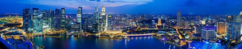 Singapore Night Skyline Panorama