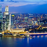 Singapore Night Skyline Panorama