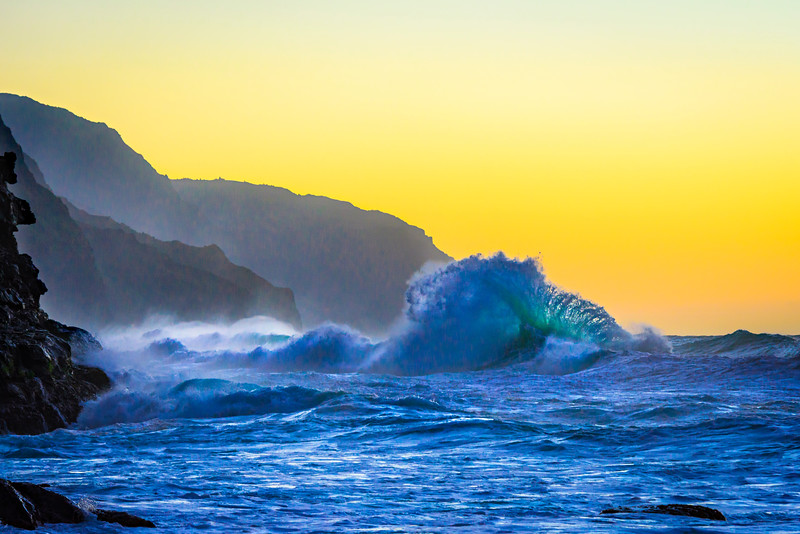 """Kauai Waves at Sunset"" Ke'e State Beach Park, Napali Coast, Kauai."