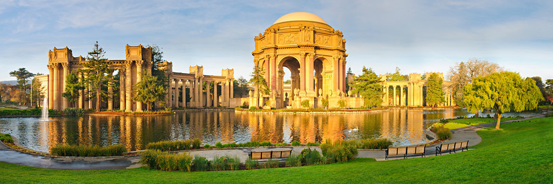 """""""Early Morning at the Palace of Fine Arts"""" After I shot the lunar eclipse over the Golden Gate Bridge, I headed over to the Palace of Fine Arts to get the early morning sunlight, glow and reflections on the water. This is 8 images stitched together in a 1:3 ratio panorama and should look great printed as a 20:60 or triptych combination (two small images on the sides and one larger image with the main part of the palace. — at Palace of Fine Arts."""
