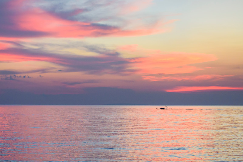 Lone Fisherman at Sunset in Boracay Island