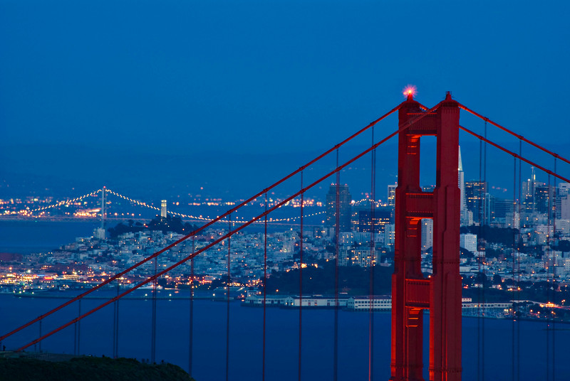 """Blue Gated Dusk""  Golden Gate Bridge and view of city lights of San Francisco at the ""Blue Light' of dusk."