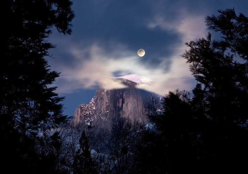 """Full moon over Half Dome"". Yosemite National Park"