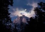 """Full moon over Half Dome"". Yosemite National Park"