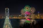 """Fireworks over San Francisco for Super Bowl 50"" Bay Bridge Straight-on"