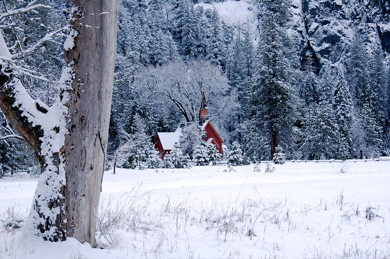 """Yosemite Chapel in Winter"""