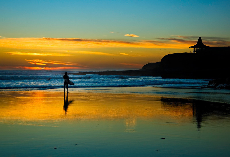 "The ""Lone Surfer at Natural Bridges"" Santa Cruz, California"