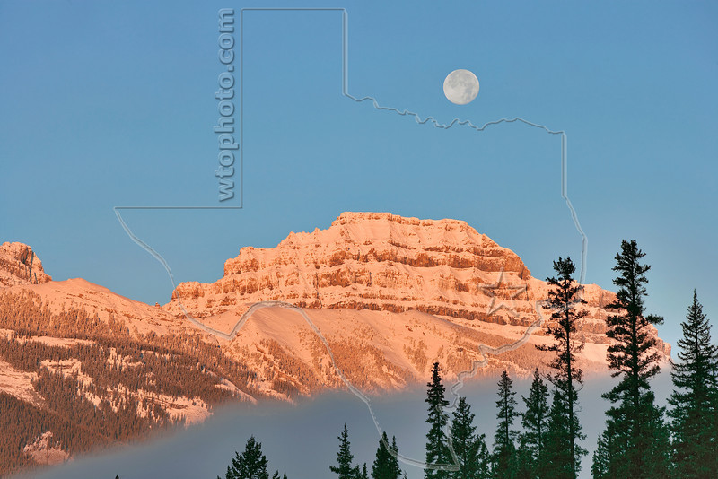 Pilot Mountain and Moon at Sunrise,<br /> Banff National Park, Alberta, Canada