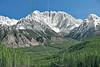 Rocky Mountain Scenery along Spray Lakes Road,<br /> Elpoca Mountain (center), Gap Mountain (right)<br /> Kananaskis Country, Alberta, Canada