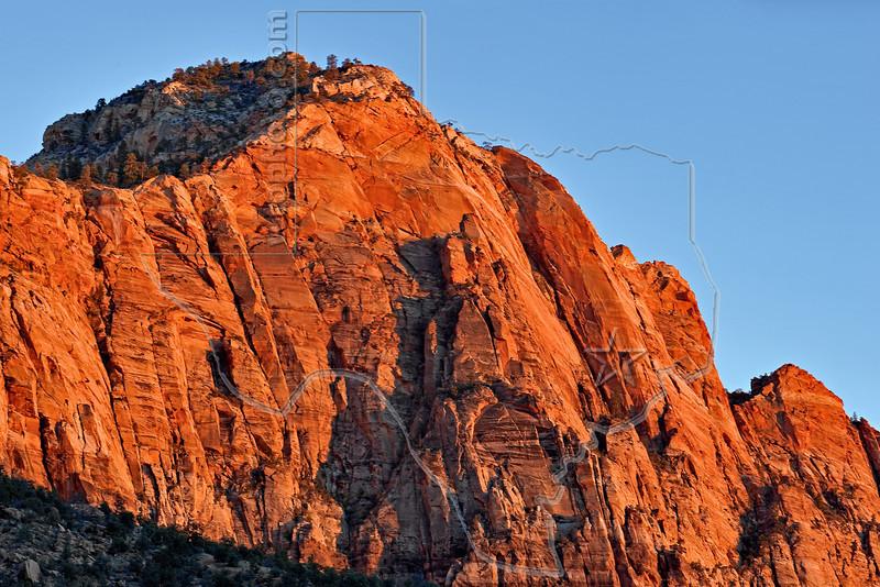 Panorama - Bridge Mountain, Sunset,<br /> Zion National Park, Utah