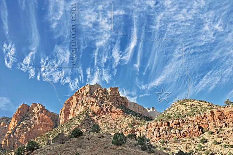 Sandstone and Cirrus,<br /> Zion National Park, Utah