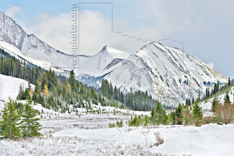 Rocky Mountain Scenery Highway 40,<br /> Mount Rae (left) and Mount Arethusa (right)<br /> Kananaskis Country, Alberta, Canada