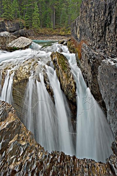 Natural Bridge Falls on Kicking Horse River<br /> Low Flow in October,<br /> Yoho National Park, British Columbia
