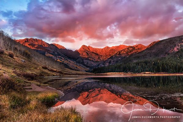 Alpenglow on the Gore Range, Piney Lake Colorado