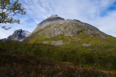 Hollendaren and Store Blåmann, on the island Kvaløya, outside Tromsø. The latter is a popular but rather steep and challenging hiking destination.