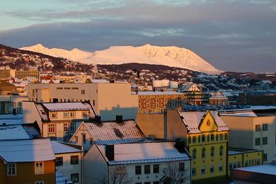 Harstad in the low winter sun