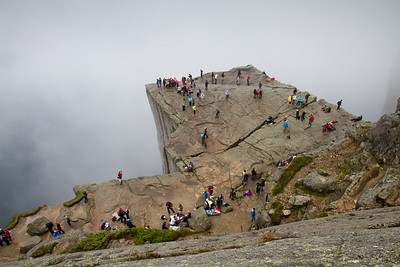 Another picture of Preikestolen / Pulpit Rock, a day where the cliff was intermittently engulfed in clouds.