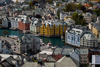 The town of Ålesund, at the Northwest coast of Norway. Famous for it's jugend style architecture - a result of the rebuilding of the town after the big fire in 1904, which virtually destroyed it entirely.