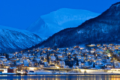 Twilight over Tromsdalen outside Tromsø, with Tromsdalstinden in the background