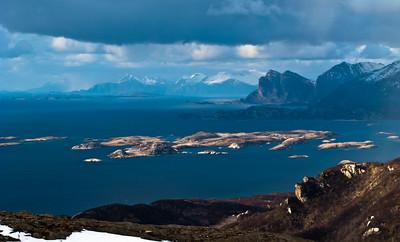 View towards Vågøya / Mjelde / Kjerringøy, from Keiservarden, Bodø