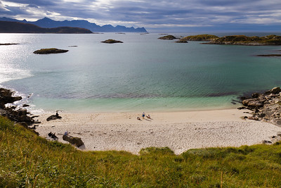 Sandvika, on the island Hillesøya outside Tromsø, looks like a beach in Greece, but this is far North of the Polar Circle! The water temperature can't beat the Mediterranean though...