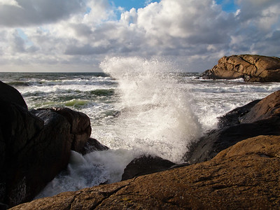Breakers against the rocks on the coast of Jæren (Laugaberget, outside Ogna). The Jæren coast from Stavanger Soutwards to this location consists mostly of long beaches, but in this area there are rocky parts in between the beutiful beaches.