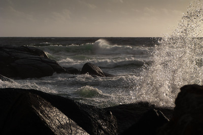 Windy day with rough sea outside Jæren, on the South Western coast of Norway. The autumns storms are about to arrive now it seems.