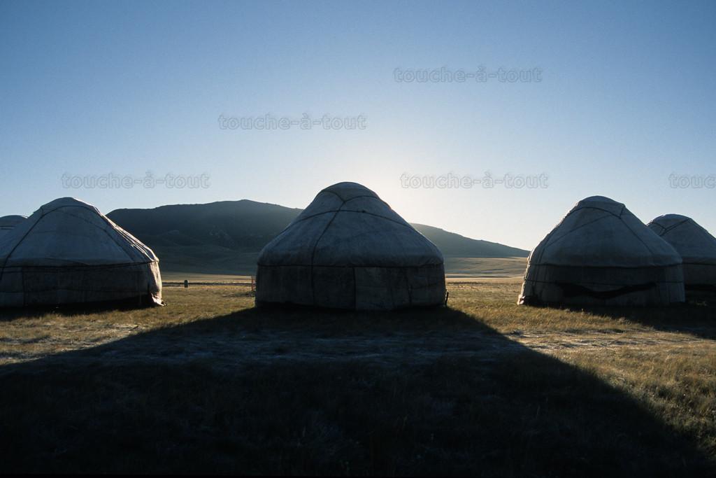 Yurts at dawn, Son Kul, Kyrgyzstan