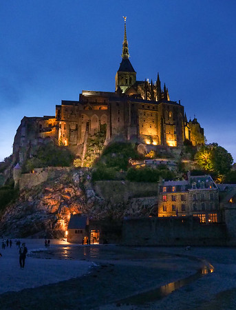 Mount St. Michel at night