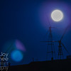 Full Wolf Moon with Wind Turbines