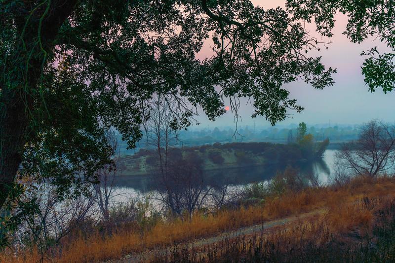Smoky Sunset with Island