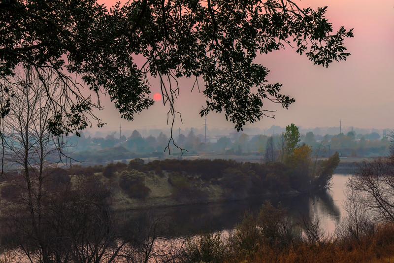 Smoky Sunset with Island 2
