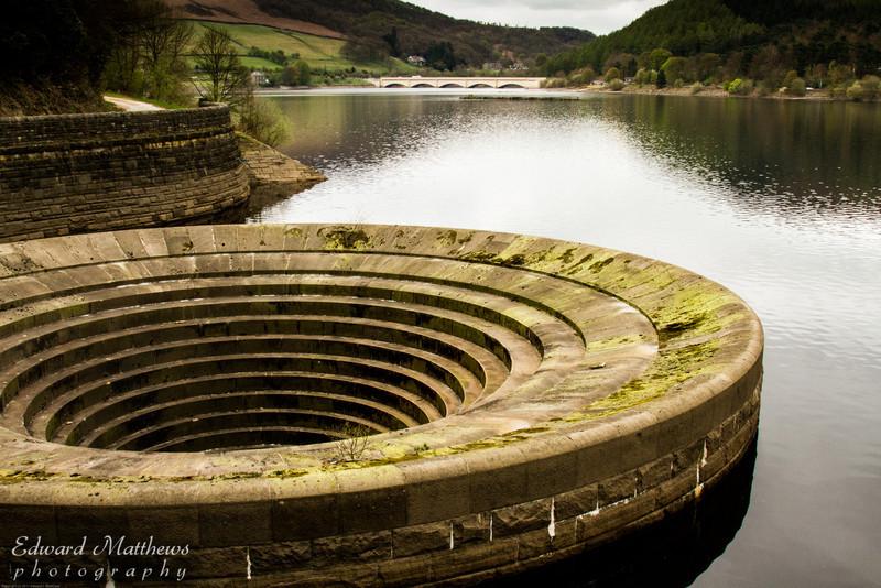 Overflow drain in Ladybower Reservoir (Peak District in England)