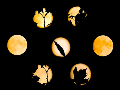 Composite Image- Orange Moon during California Fires (Sep 2020). The moon is orange because of the smoke in the sky