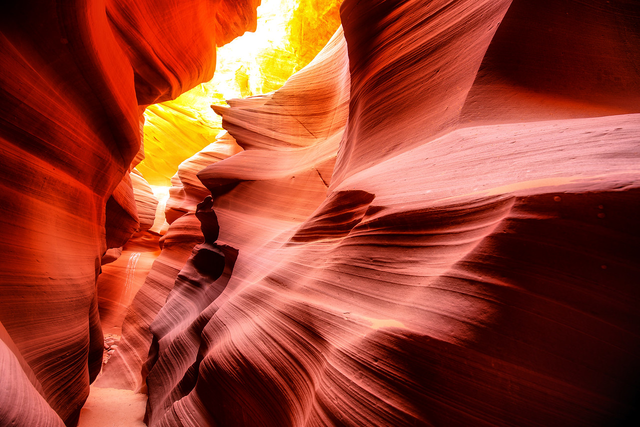 The narrow confines of Lower Antelope Canyon in the morning light near Page, AZ
